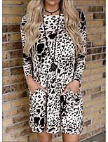 cheap -Women's A-Line Dress Short Mini Dress - Long Sleeve Striped Pocket Print Spring Fall Elegant Slim 2020 White Blue Blushing Pink Khaki Light Green S M L XL XXL 3XL