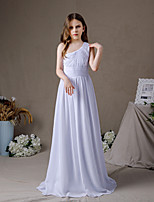 cheap -A-Line One Shoulder Floor Length Chiffon Junior Bridesmaid Dress with Pleats
