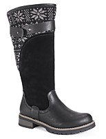 cheap -Women's Boots Cowboy Western Boots Wedge Heel Round Toe Classic Daily Solid Colored PU Mid-Calf Boots Black / Brown