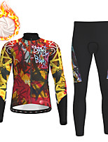 cheap -21Grams Men's Long Sleeve Cycling Jacket with Pants Winter Fleece Black / Yellow Bike Fleece Lining Breathable Warm Sports Graphic Mountain Bike MTB Road Bike Cycling Clothing Apparel / Micro-elastic