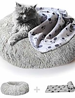 cheap -anxiety dog bed and grey dog calming blanket set comfy donut cuddler pet bed for orthopedic relief, improved sleeping, waterproof bottom