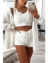cheap -Women's Basic Solid Color Two Piece Set Cotton V Neck Sweater Tank Crop Pant Drawstring Tops