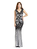 cheap -Mermaid / Trumpet Elegant Floral Wedding Guest Formal Evening Dress V Neck Sleeveless Floor Length Spandex with Sequin 2020