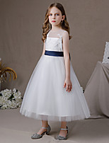 cheap -A-Line Jewel Neck Floor Length Lace / Tulle Junior Bridesmaid Dress with Bow(s) / Pleats