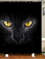 cheap -3d black cat eyes bathroom curtain home fabric shower curtain with 12 hooks 59 x 71 inches