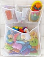 cheap -bath toy organizer,bathtub toy bags baby toys mesh storage bag bathroom net holder (white)