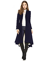 cheap -Women's Fall & Winter Single Breasted Shirt Collar Coat Long Solid Colored Daily Basic Black Navy Blue S M L XL / Going out / Slim