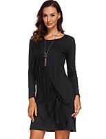 cheap -Women's Shift Dress Short Mini Dress - Long Sleeve Solid Color Tassel Fringe Spring Fall Plus Size Casual 2020 Black S M L XL