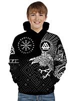 cheap -Kids Toddler Boys' Active Basic Fantastic Beasts Geometric 3D Animal Print Long Sleeve Hoodie & Sweatshirt Black