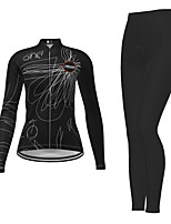 cheap -21Grams Women's Long Sleeve Cycling Jersey with Tights Winter Polyester Black Novelty Bike Jersey Tights Clothing Suit Breathable Quick Dry Moisture Wicking Back Pocket Sports Novelty Mountain Bike