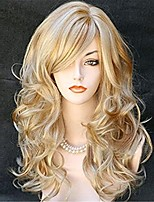 cheap -women's long curly body wavy heat resistant blonde with highlights wig synthetic full hair wig for women (blonde with highlights)