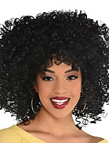 cheap -Cosplay Wig Spiral Curls Big Hair Curly Afro With Bangs Wig Short Black Synthetic Hair Women's Anime Cosplay Exquisite Black