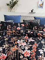 cheap -Black Botanical Floral Print 3-Piece Duvet Cover Set Hotel Bedding Sets Comforter Cover with Soft Lightweight Microfiber(Include 1 Duvet Cover and 1or 2 Pillowcases)