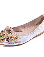 cheap -women's wedding flats rhinestone slip on foldable ballet shoes 7 sliver