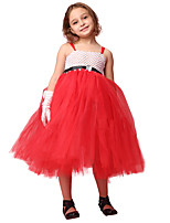 cheap -Santa Suit Cosplay Costume Costume Girls' Movie Cosplay Tutus Plaited Vacation Dress Red Dress Christmas Halloween Carnival Polyester / Cotton Polyester