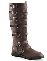 cheap -Women's Boots Block Heel Round Toe Casual Basic Daily PU Knee High Boots Walking Shoes Black / Brown
