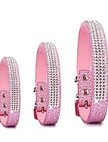 cheap -pet's house dog collars for small dogs female bling personalized girl pitbull leather pink spikes sparkle training thick shock (xs, pink)