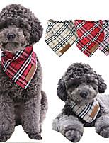 cheap -Dog Cat Dog Bandana Triangle Bibs Accessories Dog Birthday Bandana Hat Plaid / Check Casual / Daily Dog Clothes Red Khaki Costume Cotton S M L