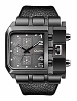 cheap -mens watch fashion rectangle quartz wristwatch with leather strap - black dial
