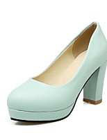 cheap -Women's Heels Wedge Heel Round Toe Classic Daily Solid Colored PU White / Blue / Pink