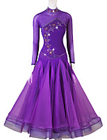 cheap -Ballroom Dance Dress Crystals / Rhinestones Women's Performance Long Sleeve Spandex Organza