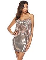 cheap -Women's Strap Dress Short Mini Dress - Sleeveless Solid Color Backless Sequins Tassel Fringe Summer Sexy 2020 Silver S M L XL XXL