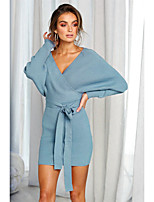 cheap -Women's Sheath Dress Short Mini Dress - Long Sleeve Solid Color Backless Fall Winter V Neck Sexy Going out Slim 2020 Black Blue Green Brown Gray Light Blue S M L XL