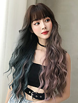 cheap -Synthetic Wig Deep Wave With Bangs Wig Very Long Blue Synthetic Hair 30 inch Women's Classic Ombre Hair Exquisite Purple