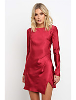 cheap -Women's A-Line Dress Short Mini Dress - Long Sleeve Solid Color Backless Spring Summer Sexy Going out Club Slim 2020 Blushing Pink Wine S M L XL