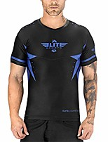 cheap -bjj mma no-gi mens rash guard for men, best bjj raked short sleeve rashguards (blue, xl)