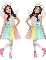 cheap -Princess Unicorn Flapper Dress Outfits Masquerade Girls' Movie Cosplay A-Line Slip Cosplay Vacation Dress Rainbow Dress Wings Headwear Halloween Children's Day Masquerade Polyester Organza