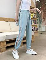 cheap -Women's Basic Daily Harem Pants Striped Mesh Sports Black Green S M L