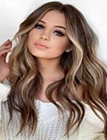cheap -Synthetic Wig Body Wave Middle Part Wig Long Very Long Light Brown Synthetic Hair 26 inch Women's Party Highlighted / Balayage Hair Middle Part Brown