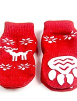 cheap -pet dog cat christmas red socks with snowflake elk pattern decor, anti slip bottom warm cotton paw protectors for indoor wear, set of 4pcs