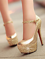 cheap -Women's Heels Stiletto Heel Round Toe Sexy Daily Sequin Solid Colored Nubuck Gold / Silver