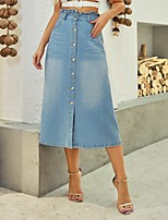 cheap -Women's Casual / Daily Basic Midi Skirts Solid Colored Peplum