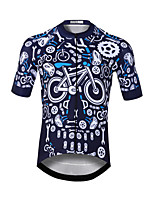 cheap -CAWANFLY Men's Short Sleeve Cycling Jersey Blue / Black Bike Jersey Top Mountain Bike MTB Road Bike Cycling Quick Dry Sports Clothing Apparel / Stretchy
