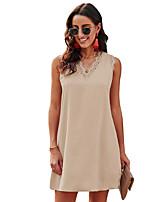 cheap -Women's Shift Dress Short Mini Dress - Sleeveless Solid Color Lace Patchwork Summer V Neck Casual Loose 2020 White Black Blue Khaki Green S M L XL XXL