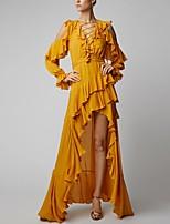 cheap -Sheath / Column Elegant Boho Holiday Party Wear Dress V Neck Long Sleeve Asymmetrical Spandex with Ruffles 2020