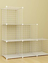cheap -storage rack with metal wire mesh 6 cubes bookshelf 37x12.5x37inch large capacity white simple storage shelves