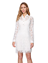 cheap -Sheath / Column Elegant Minimalist Party Wear Cocktail Party Dress High Neck Long Sleeve Short / Mini Lace with Buttons 2020