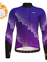 cheap -21Grams Men's Long Sleeve Cycling Jersey Winter Fleece Polyester Purple Blue Gradient Geometic Bike Jersey Top Mountain Bike MTB Road Bike Cycling Thermal Warm Fleece Lining Breathable Sports