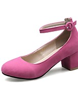 cheap -Women's Heels Wedge Heel Round Toe Vintage Daily Solid Colored PU Black / Yellow / Fuchsia