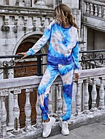 cheap -Women's Basic Tie Dye Two Piece Set Hoodie Pant Print Tops / Loose