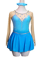 cheap -Figure Skating Dress Women's Girls' Ice Skating Dress Blue Patchwork Asymmetric Hem Spandex High Elasticity Training Competition Skating Wear Handmade Crystal / Rhinestone Long Sleeve Ice Skating