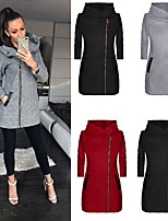 cheap -Women's Hoodie Sweatshirt Coat Zipper Hoodie Cotton Solid Color Sport Athleisure Pullover Long Sleeve Warm Soft Comfortable Everyday Use Exercising General Use