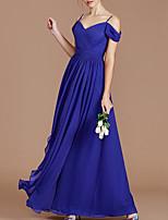 cheap -A-Line Elegant Minimalist Wedding Guest Formal Evening Dress Spaghetti Strap Sleeveless Floor Length Chiffon with Pleats 2020