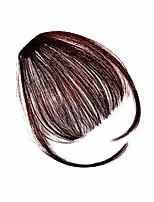 cheap -clip in bangs hair extensions human hair air bangs with temple handmade clip in hair (dark brown)