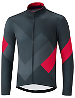 cheap -21Grams Men's Long Sleeve Cycling Jacket Dark Gray Novelty Bike Jersey Top Mountain Bike MTB Road Bike Cycling UV Resistant Breathable Quick Dry Sports Clothing Apparel / Stretchy