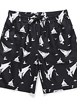 cheap -Men's Basic Holiday Shorts Pants Print Black & White Print Outdoor Black M L XL